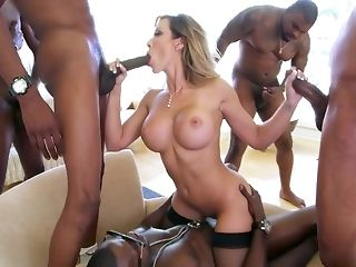 5 ebony bangers are excitingly rubbin' and drilling one stellar milky girl porn video