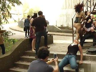 Goth slave fucked in public and in interdict