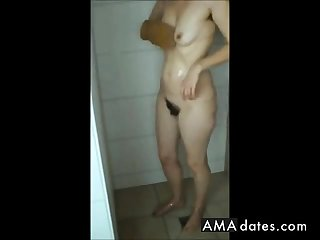 Big grown-up ass, hairy pussy and saggy tits in shower