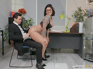 Sexy secretary Devon Lee enjoys sex with her adjunct in her office