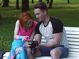 Kira Roller gets white-haired up in a park and fucked hard by a stranger