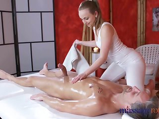Massage Rooms Loud orgasms together with creampie for fat cock