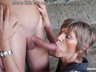 Simmering old cougar tapes up her young toyboy and sucks him not present