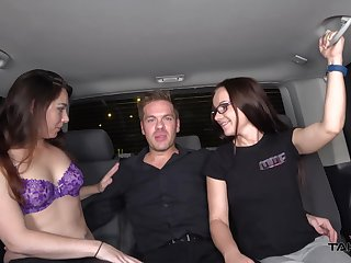 Zoe and her dick loving girlfriends share a cock in the car