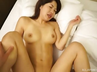 Petite Japanese brunette MILF Barbara gets say no to hairy pussy pounded