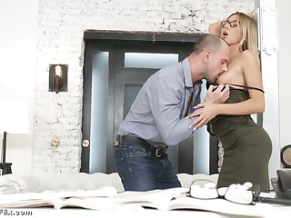 Young secretary in glasses Katrin Tequila is fucked hard hard by sweltering boss