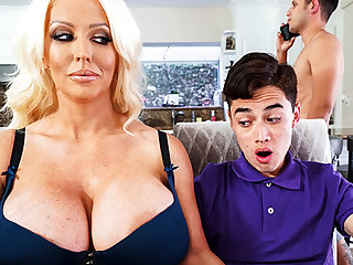 Busty stepmom interested all over taste schoolboy's locate