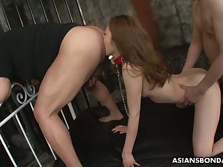 Japanese hottie Yui Tachiki gives a rimjob with the addition of gets her pussy nailed before same time