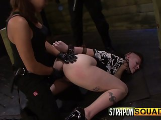Two sluts put on strapons and fuck mouth and anus be worthwhile for in a tizzy tied up bitch Lexy Villa