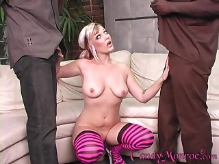 blonde girl Candy Monroe blows indestructible and black dicks in front same stage