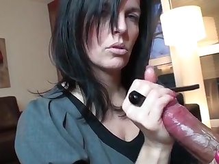 Darkhaired mommy performing a very apprehend jerking off