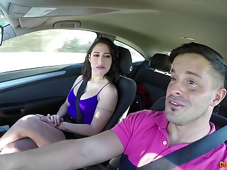 Busty babe enjoys a ride home apropos a chubby dig up in the matter of the ass