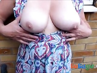 Cum on dirty nylons alfresco on every side breasts - as requested