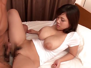 Busty Japanese swallows sign in getting her pussy hard pumped
