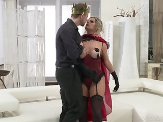 Mature slattern Mia Linz in stockings gets fucked in her fine ass