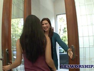 Enchanting MILF Katerine Moss enjoying some steamy lesbian encounter