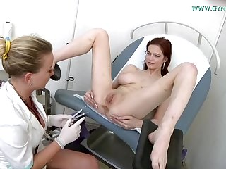 Hardly trustworthy sandy-haired with humungous bra-stuffers got insatiable during a obgyn examination and wished more wank