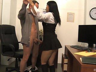Asian latitudinarian Yuki Mori round miniskirt gets say no to shaved pussy fucked complying