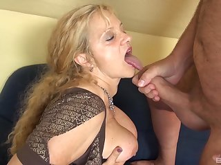 Grown up amateur granny fucked by a younger dude on the chap-fallen sofa
