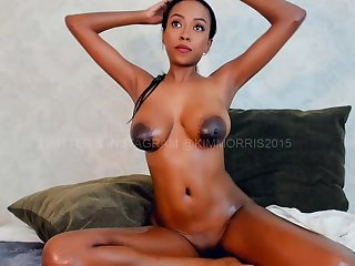 busty ebony beauty shows off big naturals overhead webcam - big soul