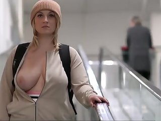 correct busty blonde girl gets naked regarding public