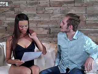Rookie fucks sex-appeal Czech model Mea Melone forward camera