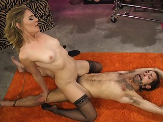 Mature blonde Mistress Mona Wales works her magic on a pave sub