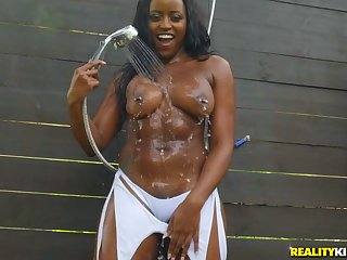 Pierced nipples Nyna Stax fucked by a white monster in the shower