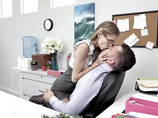 Skinny long legged nerdy secretary rides and sucks strong bushwa in the office
