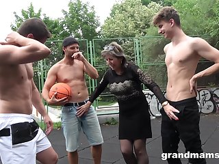Dirty buxom mature floozie is picked around for random orchestra bang outdoors