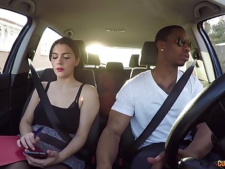 Hot driving instructor Valentina Nappi hooks up with four of her students