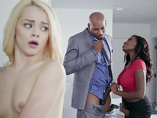 Housewife added to spouse with Obese Baneful Bushwa poke nubile blondie