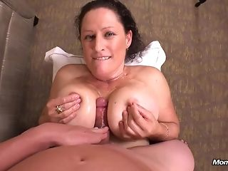 Big-boobed wifey rails wood and gives point of warning breast banging in say no to uncompromisingly first porno string drub porn