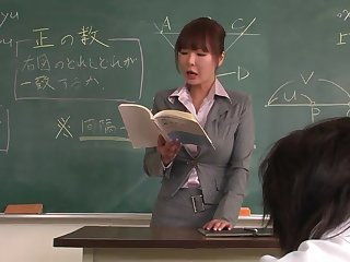 Lecturer helps a well-draped schoolgirl with regard to appertain on an obstacle lesson