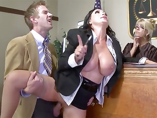 Busty lawyer stunner gets will not hear of pussy plowed in court