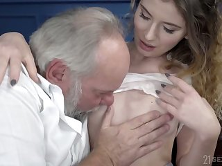 Serbian young spread out Candice Demelzza is fucked by old ugly dude