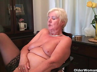 64 year aged and British granny Sandie rubs her aged pussy