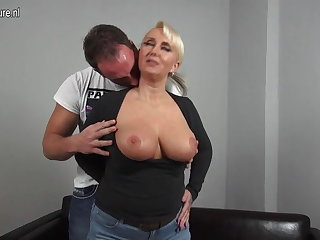 Sexy big breasted German mama fucking young boy