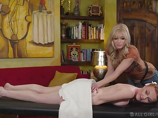 Overheated haired pigtailed client Marie McCray is impatient for silly butch sex